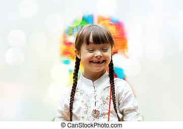 hermoso, retrato, niña