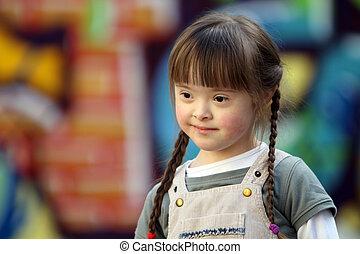 hermoso, retrato, niña, joven