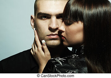 hermoso, retrato, pareja, joven