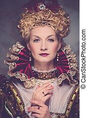 hermoso, retrato, reina, arrogante