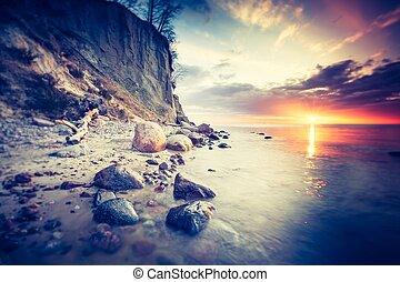 hermoso, rocoso, foto, orilla, mar, vendimia, salida del sol
