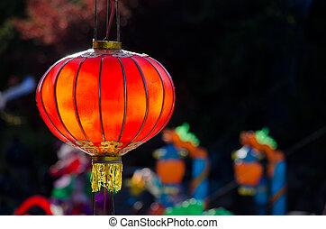 hermoso, rojo, linterna china