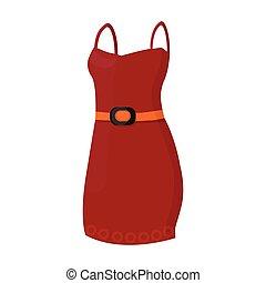 hermoso, rojo, vestido de noche, para, women., detalle, de, un, mujer, wardrobe., mujer, ropa, solo, icono, en, caricatura, estilo, vector, símbolo, acción, illustration.