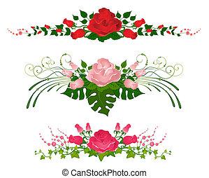 hermoso, rosa, conjunto, ramos