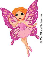 hermoso, rosa, hada, caricatura