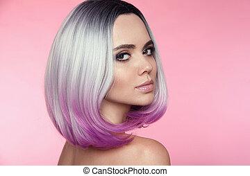 hermoso, rosa, haircut., colorido, hairstyle., belleza, brillante, ombre, modelo, aislado, makeup., salon., pelo, fondo., cortocircuito, rubio, moderno, woman., puprle, mover, cortes de pelo