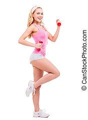hermoso, rosa, mantener, dumbbells, fit., ella, posición,...