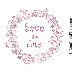 hermoso, rosa, marco, boda, floral, de encaje