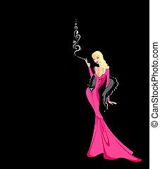 hermoso, rosa, niña, vestido