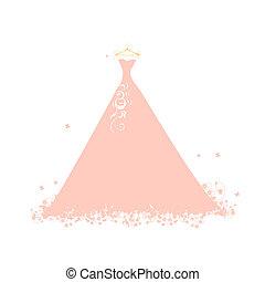 hermoso, rosa, perchas, vestido