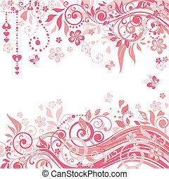 hermoso, rosa, saludo, plano de fondo