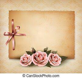 hermoso, rosa, viejo, illustration., rosa, paper., vector,...