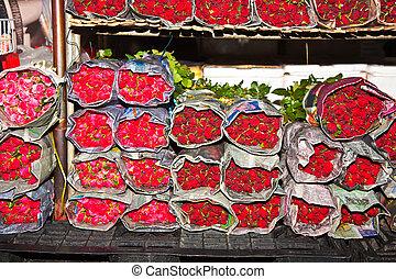 hermoso, rosas, en, el, central, mercado de flor