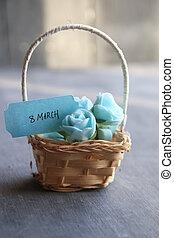 hermoso, rosas, etiqueta, marzo, 8