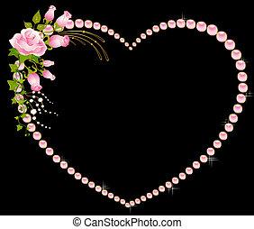 hermoso, rosas, marco