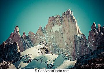 hermoso, roy, naturaleza, parque nacional, fitz, monte., paisaje, vistos, argentina, patagonia, los, glaciares