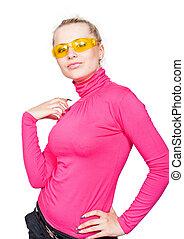 hermoso, rubio, en, el, amarillo, glasses.