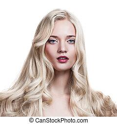 hermoso, rubio, girl., sano, largo, rizado, hair.