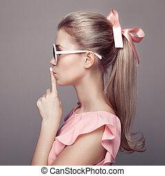 hermoso, rubio, Moda, retrato, mujer