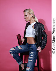 Cuero Fondo Hermoso Moda Rosa Rasgado Jeans Perfil Chaqueta qpxUwtYRx