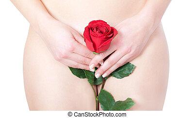 hermoso, rubio, mujer desnuda, con, rosa