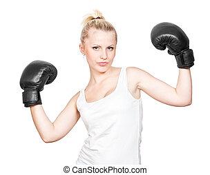 hermoso, rubio, niña, en, guantes de boxeo