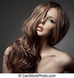 hermoso, rubio, woman., rizado, pelo largo