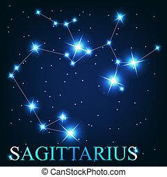 hermoso, sagitario, cielo, estrellas, cósmico, señal, ...