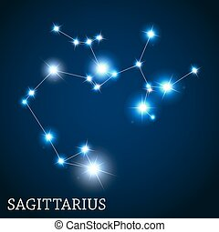 hermoso, sagitario, enfermo, señal, brillante, vector, ...