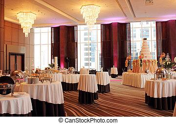 hermoso, salón de baile, adornado, para, boda