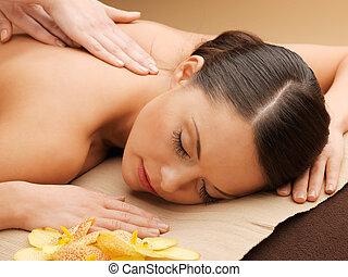hermoso, salón, mujer, masaje