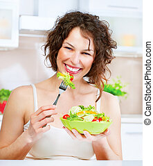 hermoso, salad., mujer que come, haciendo dieta, joven, concepto, vegetal