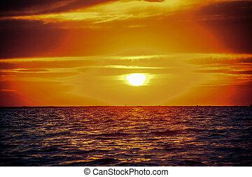 hermoso, salida del sol, en, el, mar