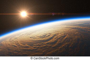 hermoso, salida del sol, en, el, plano de fondo, de, huracán