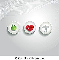 hermoso, salud corazón, cuidado, concepto, símbolos