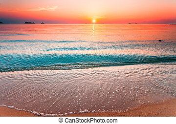 hermoso, samui, tailandia, sunset.