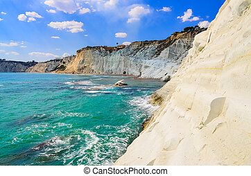 hermoso, scala, sicilia, océano, dei, turchi, playa