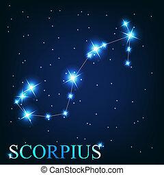 hermoso, scorpius, estrellas, cielo, cósmico, señal, ...
