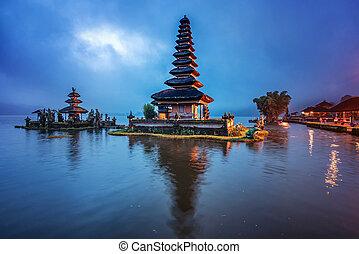 hermoso, señal, pura ulun danu, bratan, templo, en, bali, indonesia