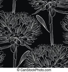 hermoso, seamless, aster., fondo negro, flores blancas, monocromo
