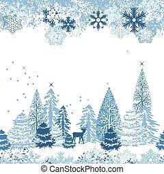 hermoso, seamless, azul, patrón, con, invierno, bosque