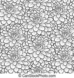 hermoso, seamless, flowers., fondo negro, monocromo, blanco