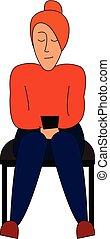 hermoso, sentado, color, ilustración, silla, vector, niña, o
