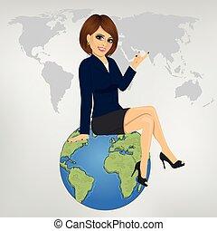 hermoso, sentado, mujer de negocios, globo, joven, algo, actuación