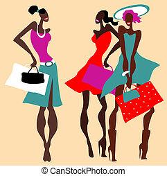 hermoso, set., moda, retro, mujeres