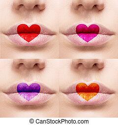 hermoso, sexy, colorido, labios, con, forma corazón, paint.