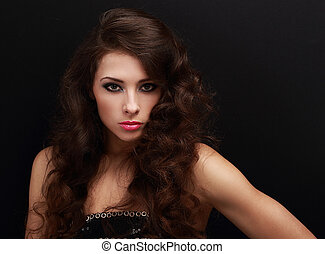hermoso, sexy, hembra, modelo, con, largo, pelo rizado,...