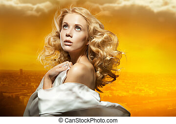 hermoso, sexy, mujer, joven, retrato