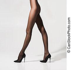 hermoso, sexy, piernas, pantyhose, ataque