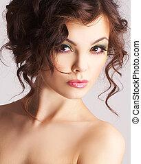 hermoso, sexy, retrato de mujer, maquillaje